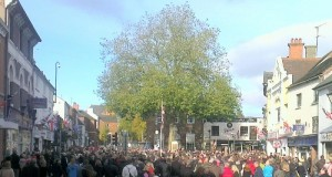 Hundreds of people attended the service at the war memorial in Stone