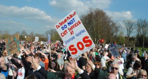 People marched in Stafford in April to protest at any move to downgrade services at the hospital. Picture by Joshua Cope