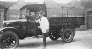 Bents Brewery delivery truck in Stone, 1930s. Photograph from the Staffordshire Past Track website. Click the photo for details