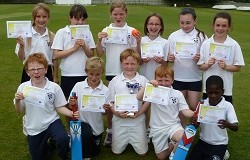 The triumphant U9 Stafford and District Mixed Kwik Cricket team