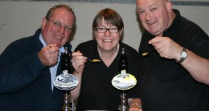 Festival chairman Richard Stevens, left, with Viv and Brad from Lymestone Brewery