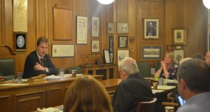 PCC Matthew Ellis talks to councillors at the meeting.