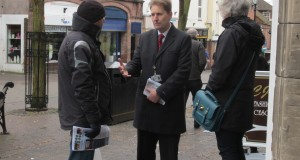 Matthew Ellis speaks to shoppers in Stone town centre recently