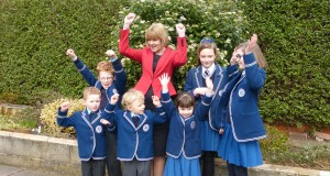 Pupils celebrate with headteacher