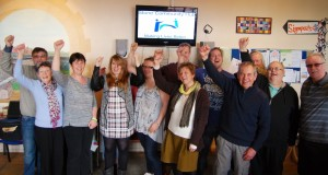 Karen Wardell, centre, with Stone Community Hub trustees, volunteers and users