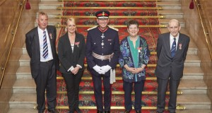 Mr David Watton from Elford, Tamworth, Mrs Ashley Hall from Netherstowe, Lichfield, Ian Dudson Lord-Lieutenant of Staffordshire, Miss Patricia Gates from Stone and Mr Swales from Alton. (1000x649)