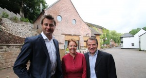 Alan Appleby - here with wife Dora and George Clarke - will be talking about the flint mill renovation in February