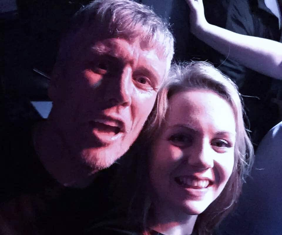 Sophie Johnson with Bez in Granvilles on Saturday night