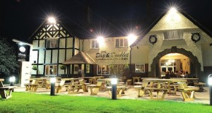 Stone Christmas Dog and Doublet Inn view