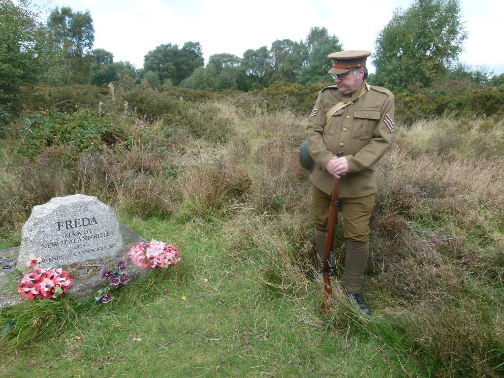 At Freda's Grace: local WW1 historian and reenactor Brett Harrison at Freda the Anzac Dog's grave on Cannock Chase. The headstone was created by Friends of Cannock Chase and laid at a special commemoration service