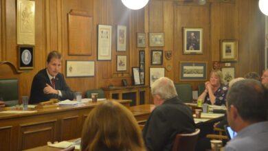 PCC Matthew Ellis talks to councillors at the meeting.