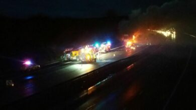 M6 lorry fire
